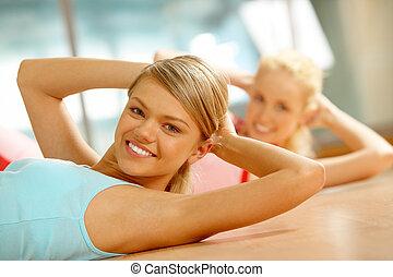 condición física, en, gimnasio