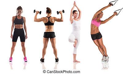 condición física, entrenamiento, con, mujeres, entrenador
