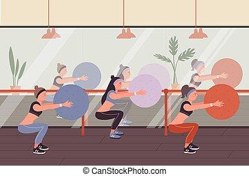 condición física, gente, mujer, pelota, entrenamiento, ejercicios, grupo, gimnasio, deportes, juguetón