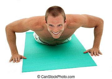 condición física, hombre, hacer, ejercicios