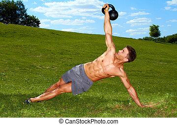 condición física, hombre, practicar, con, pesas