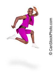 condición física, hombre saltar, de, alegría
