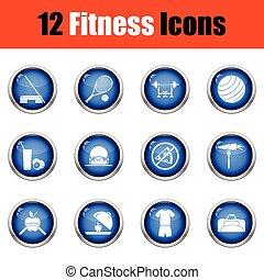 condición física, icono, set.