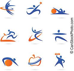condición física, iconos, -, 2