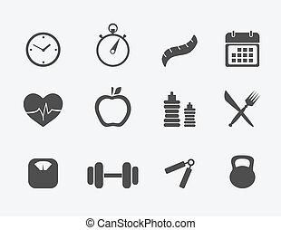 condición física, iconos, conjunto