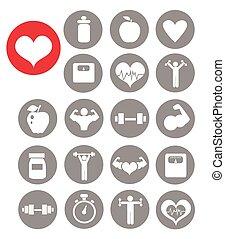 condición física, iconos