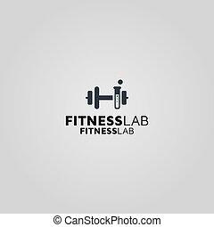 condición física, logotipo, laboratorio, vector, plantilla, diseño