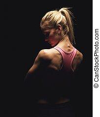 condición física, model's, espalda