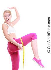condición física, mujer, ataque, niña, con, medida, cinta, medición, ella, muslo