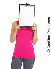 condición física, mujer joven, tenencia, blanco, portapapeles, delante de, cara