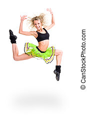 condición física, mujer, saltar, de, alegría