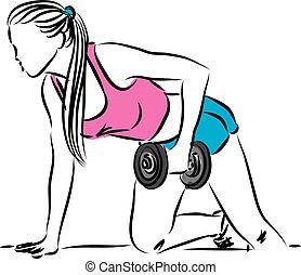 condición física, mujer, trabajo, ilustración, afuera