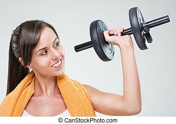 condición física, mujeres, con, dumbbell