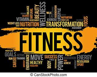 condición física, palabra, nube, deporte