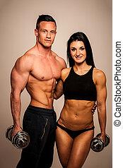 condición física, pareja, posturas, en, estudio, -, ataque, hombre y mujer
