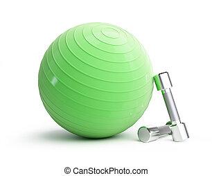condición física, pelota verde, cromo, pesas, en, un, fondo blanco