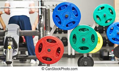 condición física, peso, equipo, para, entrenamiento