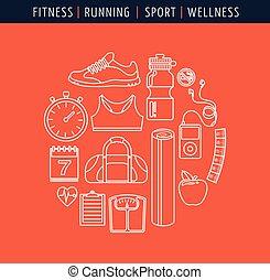 condición física, plano, gimnasio, línea, iconos
