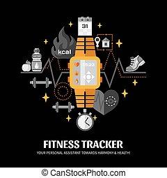 condición física, rastreador, ilustración