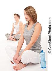 condición física, -, sano, pareja, extensión, después, entrenamiento, blanco