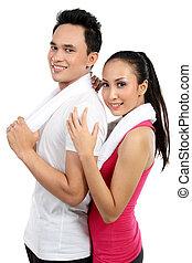 condición física, sonriente, pareja joven, hombre y mujer