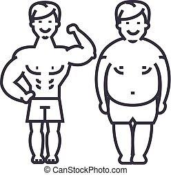 condición física, y, después, hombre, tipo, vector, línea, icono, señal, ilustración, fondo, editable, golpes