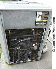condicionador ar, calor, bomba, reparar