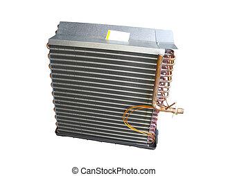 condicionador ar, evaporator, bobina, frente