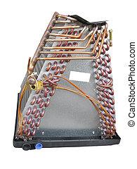 condicionador ar, evaporator, bobina, vista lateral
