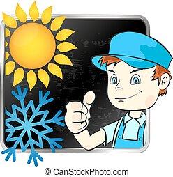 condicionador, ar, reparar