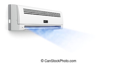 condicionador ar, soprando, gelado, ar