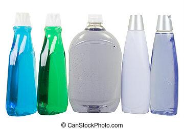 condicionador, mouthwash, líquido, shampoo, mão, sabonetes