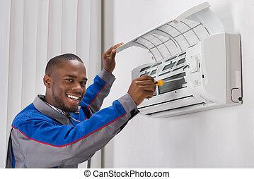 condicionador, técnico, reparar, ar