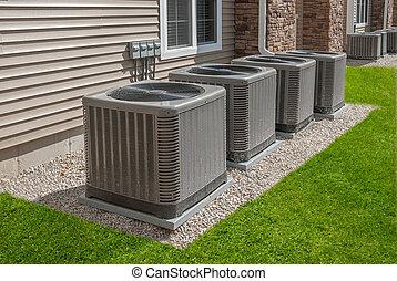 condicionamiento, aire, calor, unidades, al aire libre, bomba