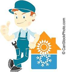 condicionamiento, aire, instalación, hombre, reparación