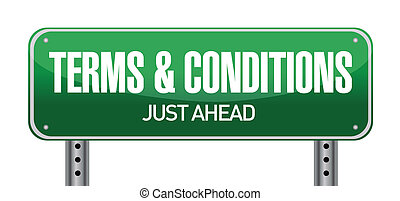 condiciones, términos, camino, ilustración, señal