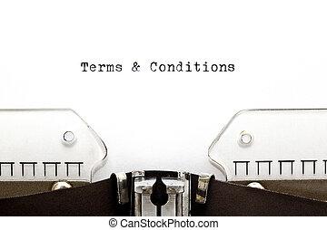 condiciones, y, términos, máquina de escribir