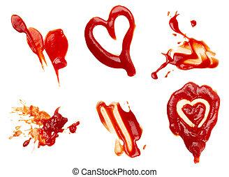 condimento, alimento, sucio, mancha, condimento, salsade tomate