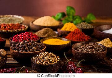 condimento, legno, indonesiano, orientale, ciotole