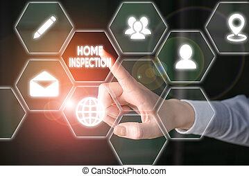 condition, maison, inspection., écriture, texte, home., mot, examen, concept, noninvasive, business