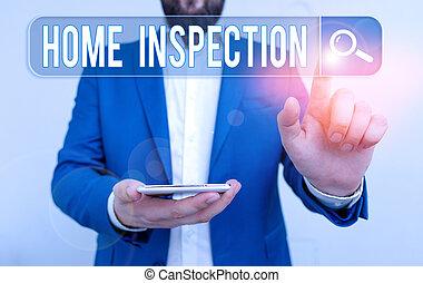 condition, maison, inspection., photo, texte, home., projection, conceptuel, signe, examen, noninvasive