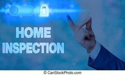 condition, maison, inspection., showcasing, écriture, photo, home., projection, examen, note, noninvasive, business
