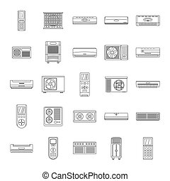 Conditioner air filter icons set, outline style