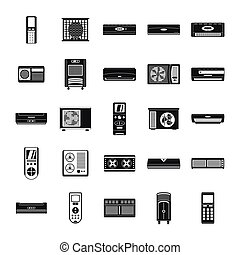 Conditioner air filter icons set, simple style