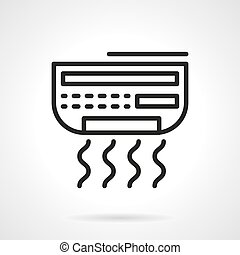 Conditioner appliance black line vector icon - House climate...