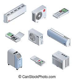 Conditioner icon set, isometric style