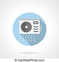 Conditioner outdoor unit round flat vector icon