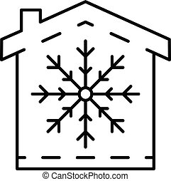 Conditioner winter mode icon, outline style - Conditioner...