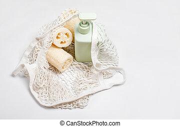 conditioner, zéró, vagy, növényi, szappan, szépség, választás, bag., zöld, mosogatórongy, konténer, luffa, termékek, friendly., szivacs, folyékony, műanyag, sampon, luffa, eco, természetes, hulladék