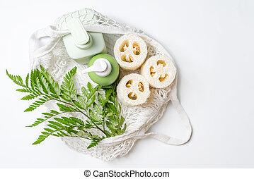 conditioner, zéró, vagy, növényi, tároló, szappan, szépség, választás, különböző, bag., mosogatórongy, luffa, termékek, friendly., szivacs, folyékony, műanyag, sampon, luffa, eco, természetes, hulladék